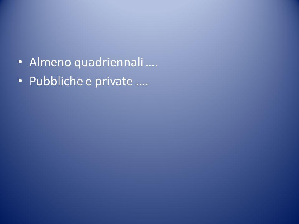 Almeno quadriennali …. Pubbliche e private ….
