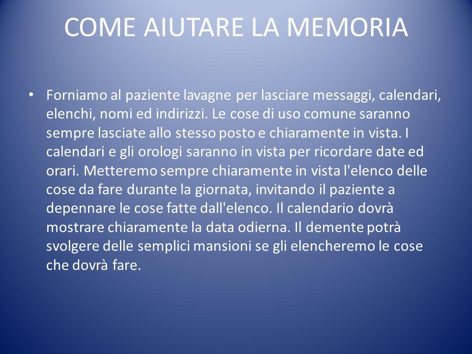 COME AIUTARE LA MEMORIA