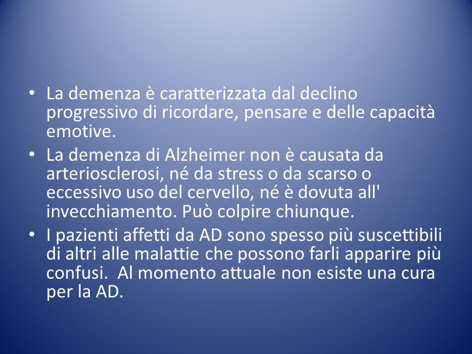 La demenza è caratterizzata dal declino progressivo di ricordare, pensare e delle capacità emotive.