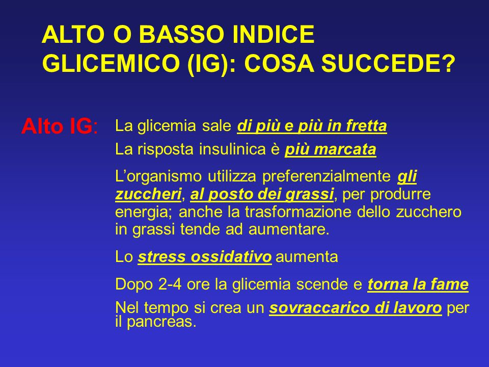 ALTO O BASSO INDICE GLICEMICO (IG): COSA SUCCEDE