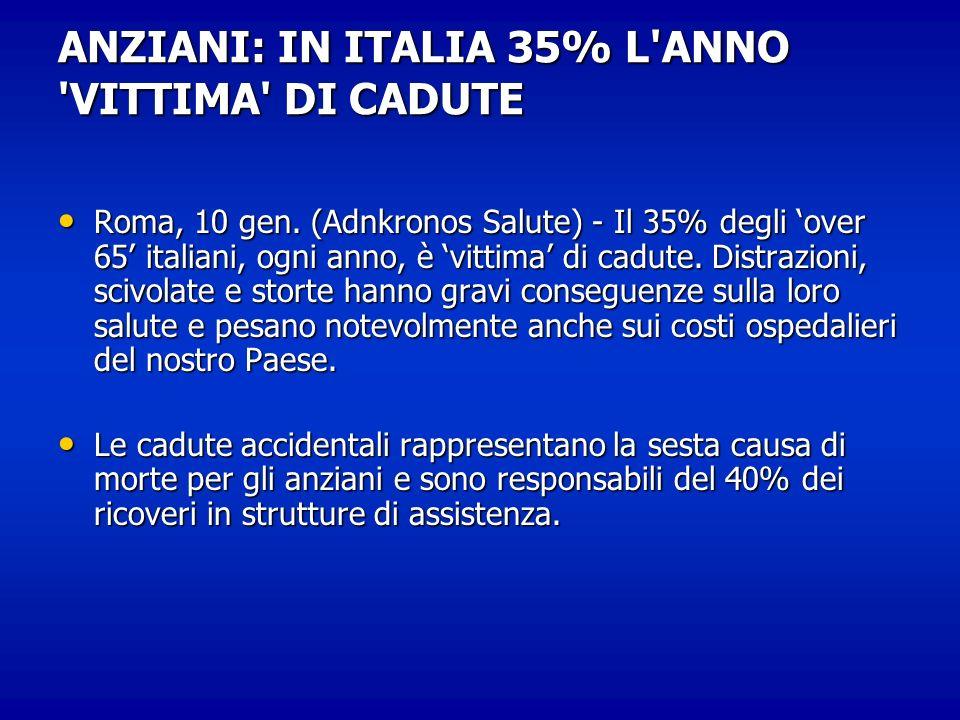 ANZIANI: IN ITALIA 35% L ANNO VITTIMA DI CADUTE