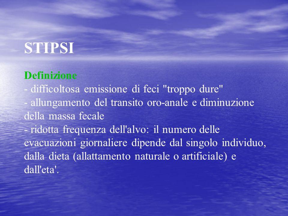 STIPSI Definizione - difficoltosa emissione di feci troppo dure