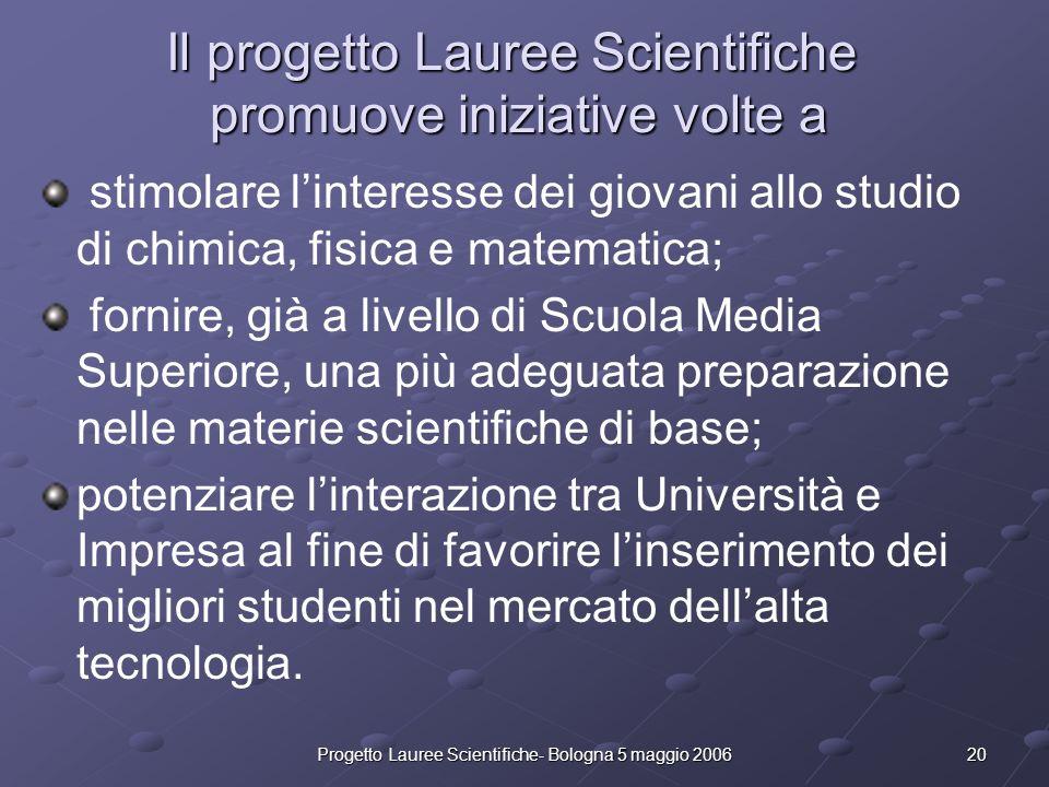 Il progetto Lauree Scientifiche promuove iniziative volte a