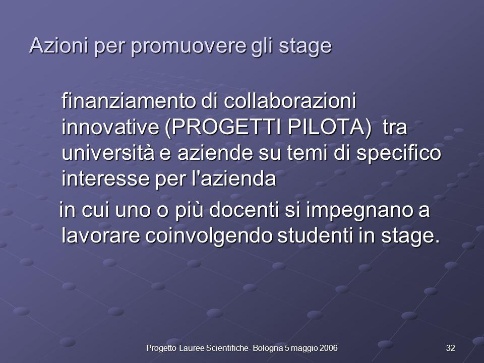 Azioni per promuovere gli stage