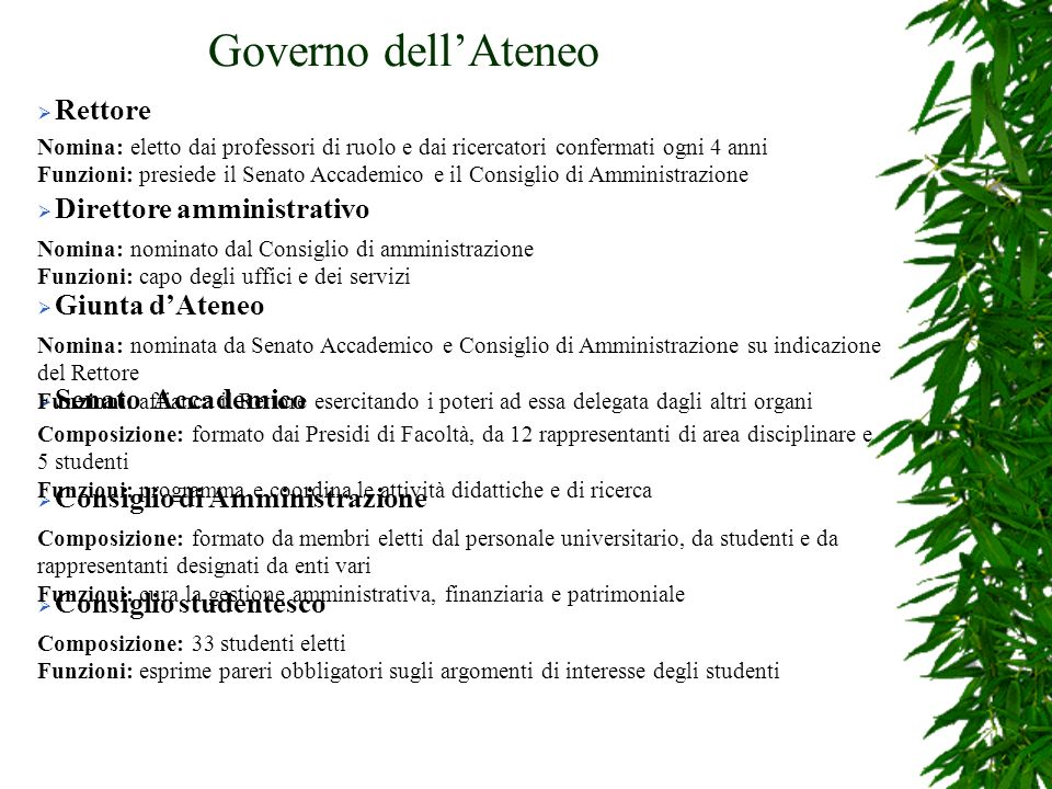 Governo dell'Ateneo Rettore Direttore amministrativo Giunta d'Ateneo