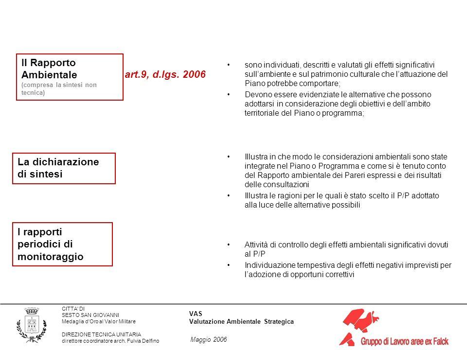 Il Rapporto Ambientale art.9, d.lgs. 2006