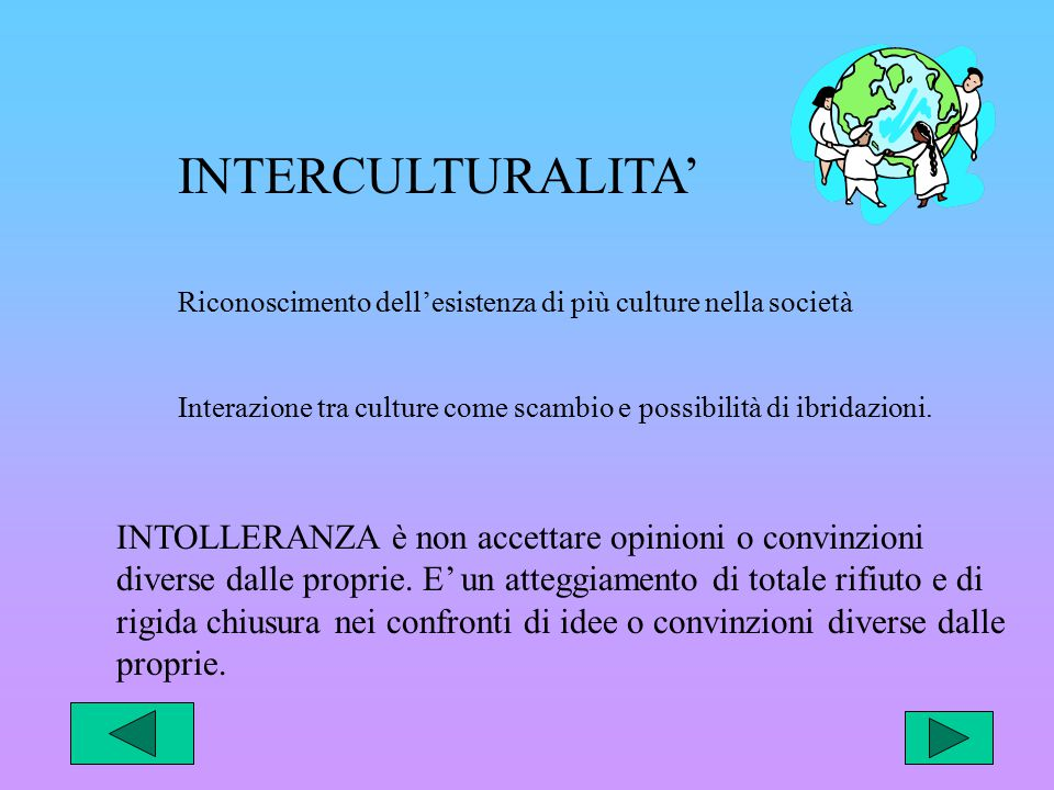 INTERCULTURALITA' Riconoscimento dell'esistenza di più culture nella società Interazione tra culture come scambio e possibilità di ibridazioni.