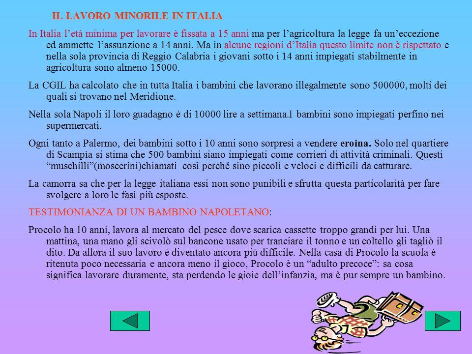IL LAVORO MINORILE IN ITALIA