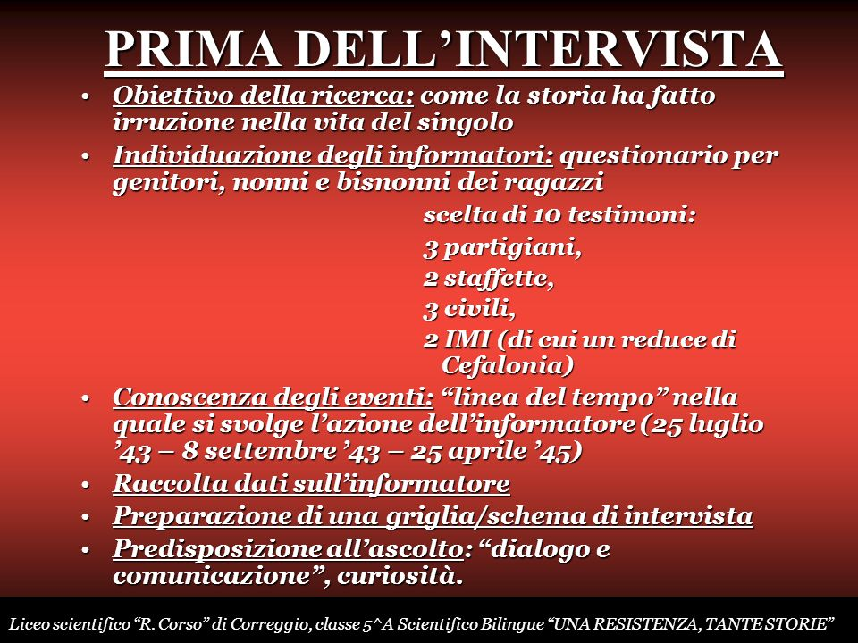 PRIMA DELL'INTERVISTA