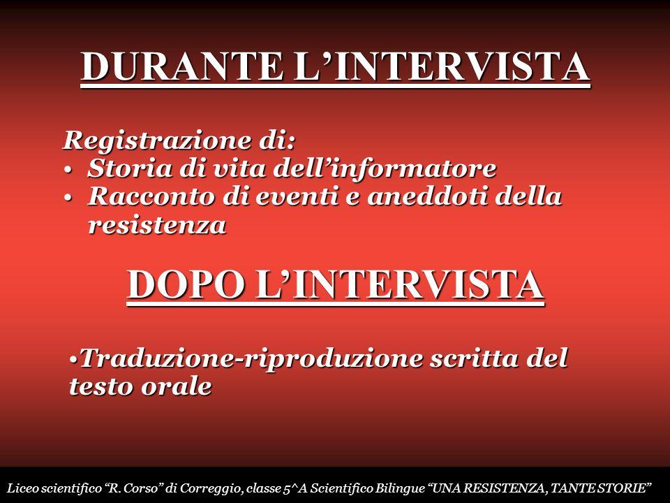 DURANTE L'INTERVISTA DOPO L'INTERVISTA
