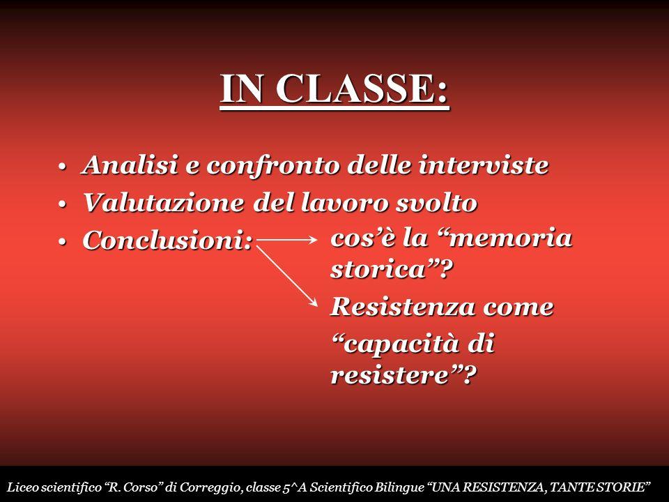 IN CLASSE: Analisi e confronto delle interviste
