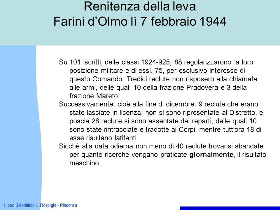 Renitenza della leva Farini d'Olmo lì 7 febbraio 1944