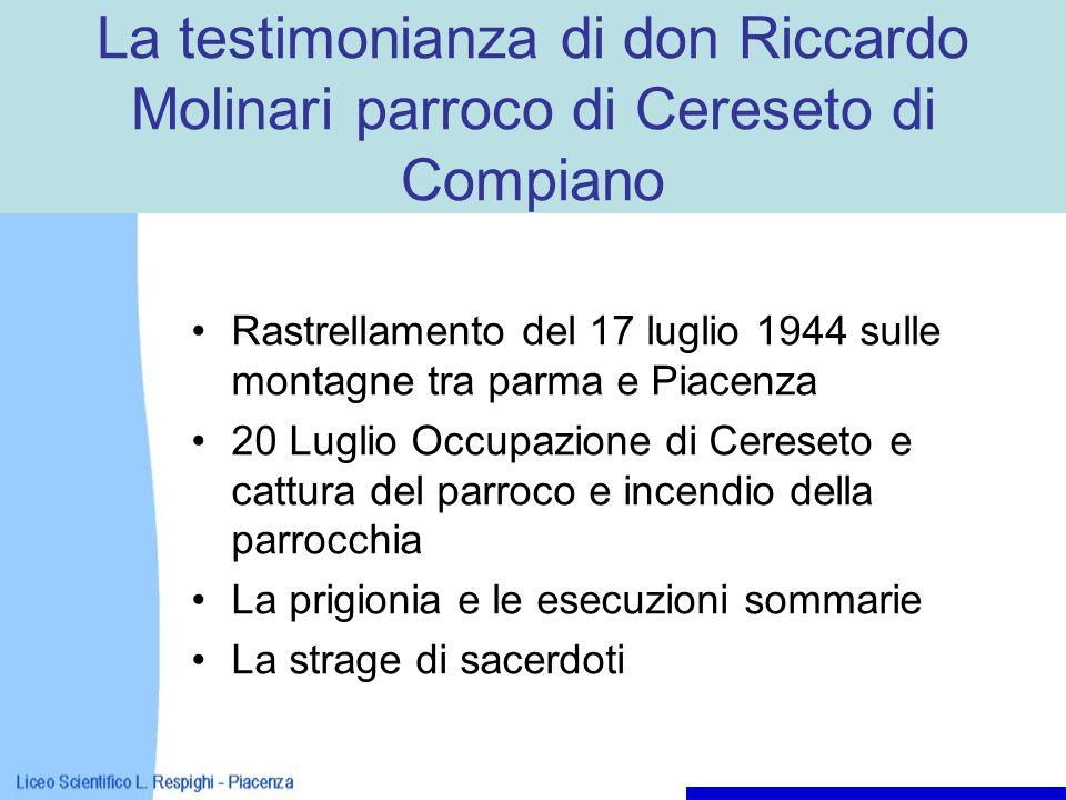 La testimonianza di don Riccardo Molinari parroco di Cereseto di Compiano