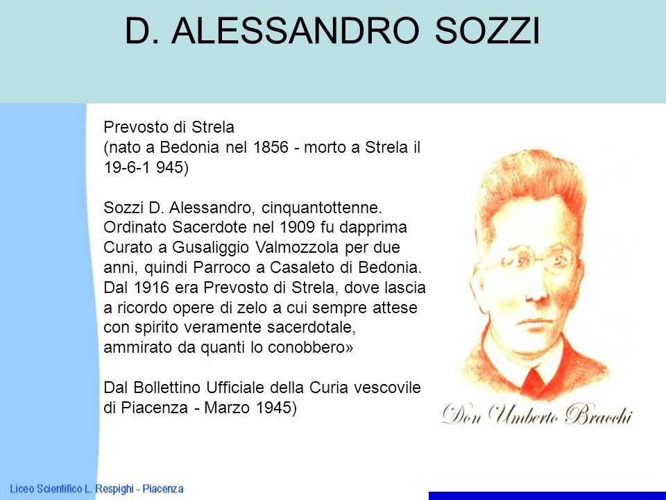 D. ALESSANDRO SOZZI Prevosto di Strela