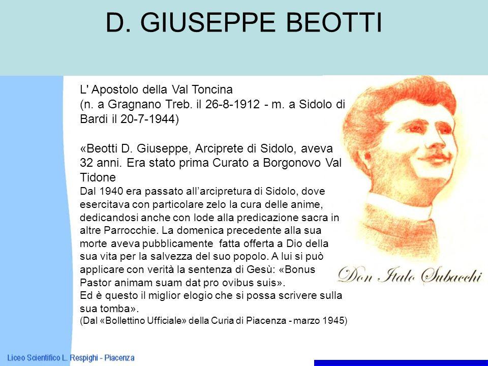 D. GIUSEPPE BEOTTI L Apostolo della Val Toncina