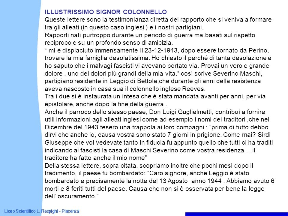 ILLUSTRISSIMO SIGNOR COLONNELLO