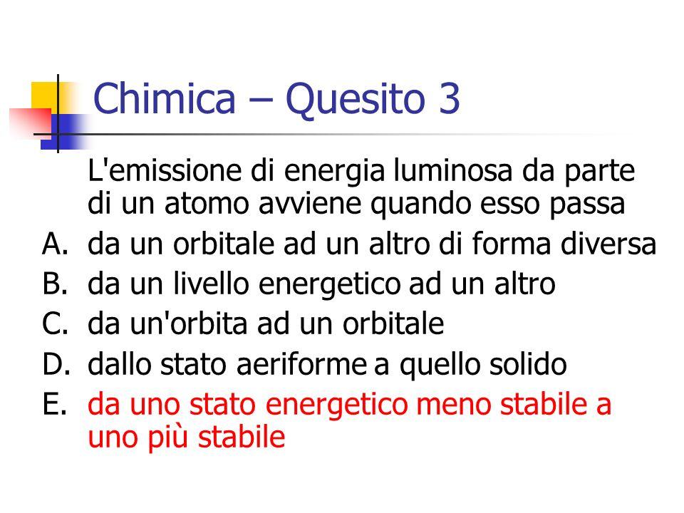 Chimica – Quesito 3 L emissione di energia luminosa da parte di un atomo avviene quando esso passa.