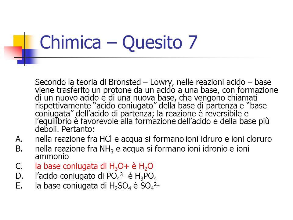 Chimica – Quesito 7