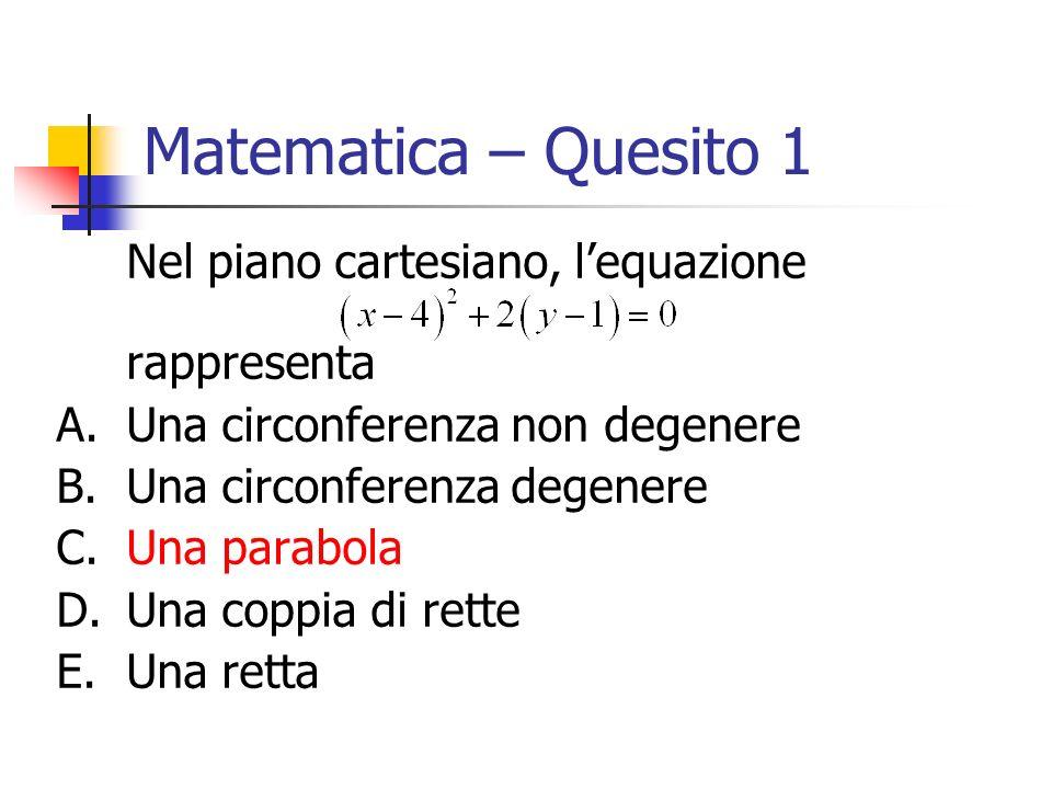 Matematica – Quesito 1 Nel piano cartesiano, l'equazione rappresenta
