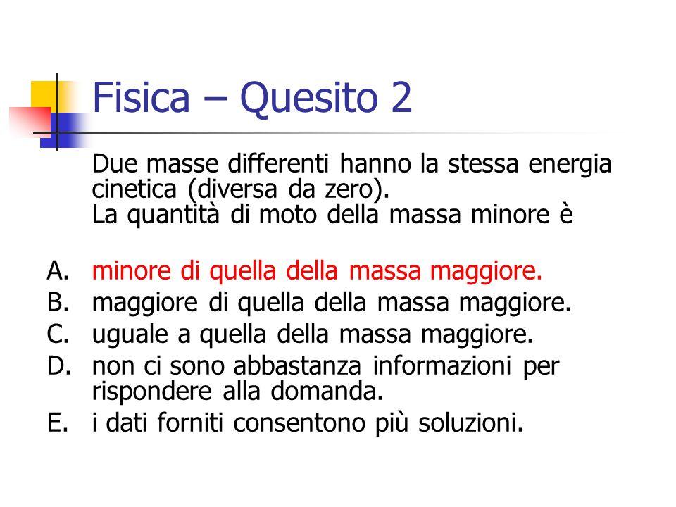 Fisica – Quesito 2 Due masse differenti hanno la stessa energia cinetica (diversa da zero). La quantità di moto della massa minore è.