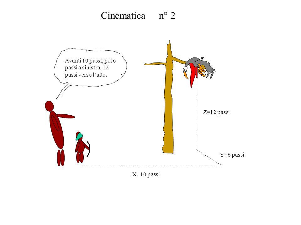 Cinematica n° 2Avanti 10 passi, poi 6 passi a sinistra, 12 passi verso l'alto. X=10 passi. Y=6 passi.