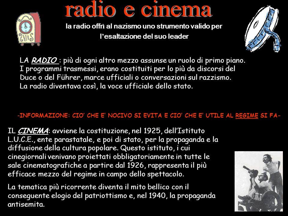 radio e cinema la radio offrì al nazismo uno strumento valido per l'esaltazione del suo leader.