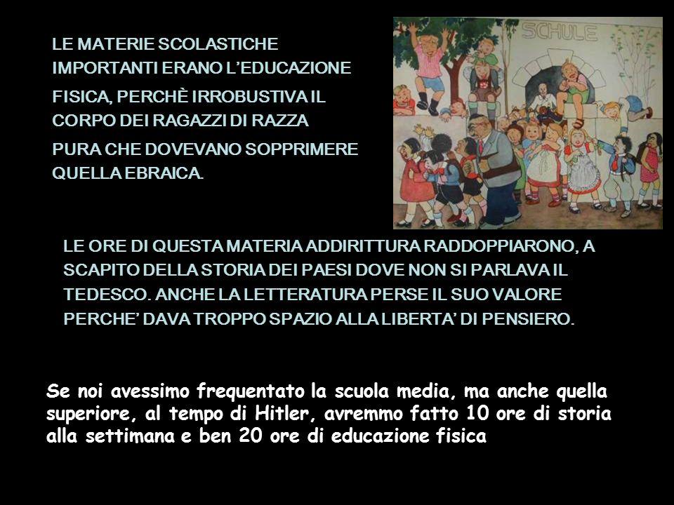LE MATERIE SCOLASTICHE IMPORTANTI ERANO L'EDUCAZIONE