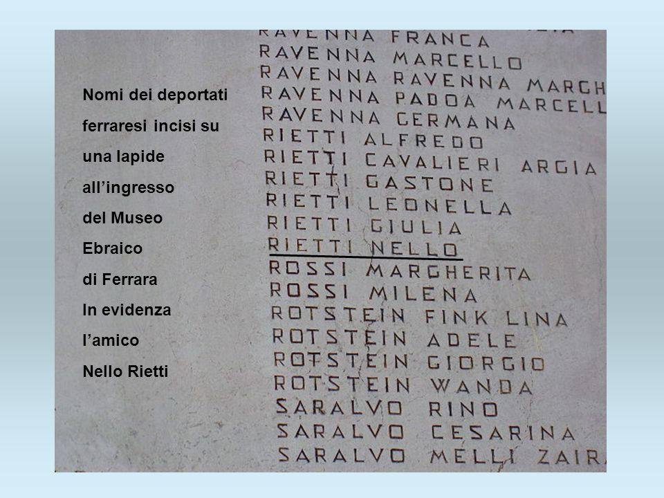 Nomi dei deportati ferraresi incisi su. una lapide. all'ingresso. del Museo. Ebraico. di Ferrara.