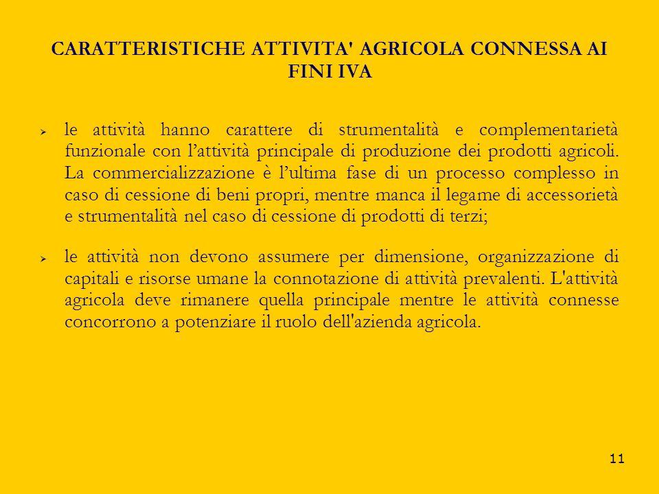 CARATTERISTICHE ATTIVITA AGRICOLA CONNESSA AI FINI IVA