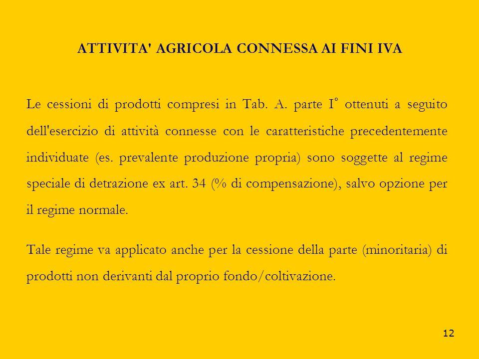 ATTIVITA AGRICOLA CONNESSA AI FINI IVA