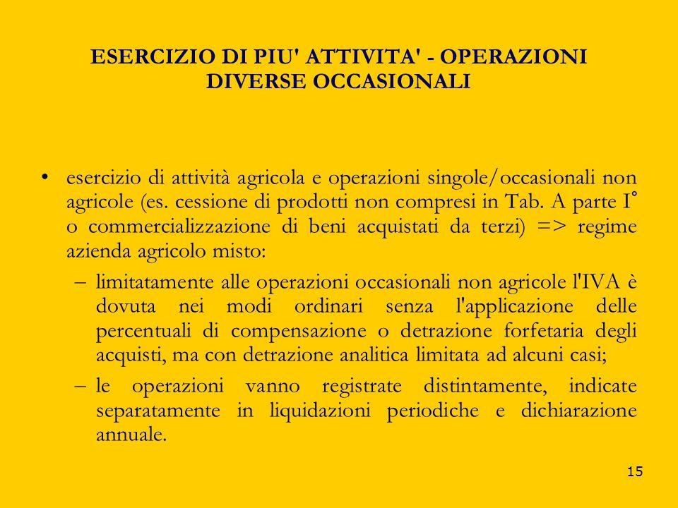 ESERCIZIO DI PIU ATTIVITA - OPERAZIONI DIVERSE OCCASIONALI