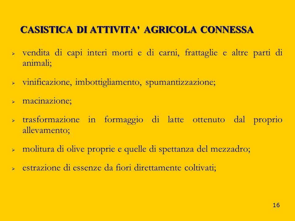 CASISTICA DI ATTIVITA AGRICOLA CONNESSA