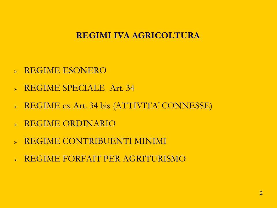 REGIMI IVA AGRICOLTURA