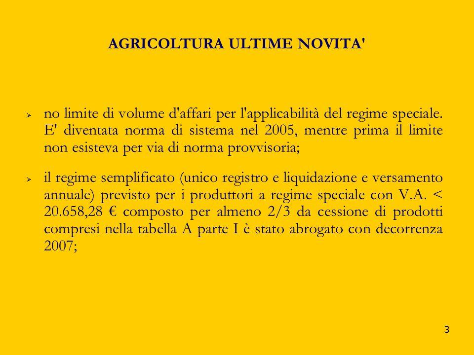 AGRICOLTURA ULTIME NOVITA