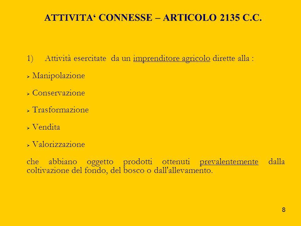 ATTIVITA' CONNESSE – ARTICOLO 2135 C.C.