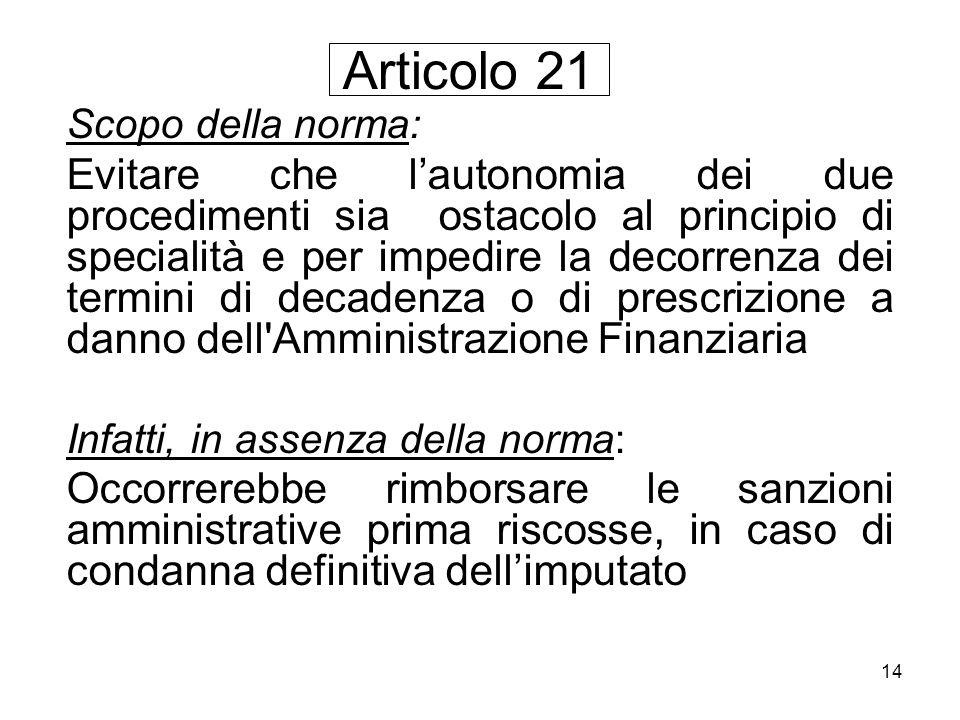 Articolo 21 Scopo della norma: