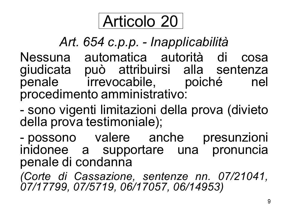 Art. 654 c.p.p. - Inapplicabilità