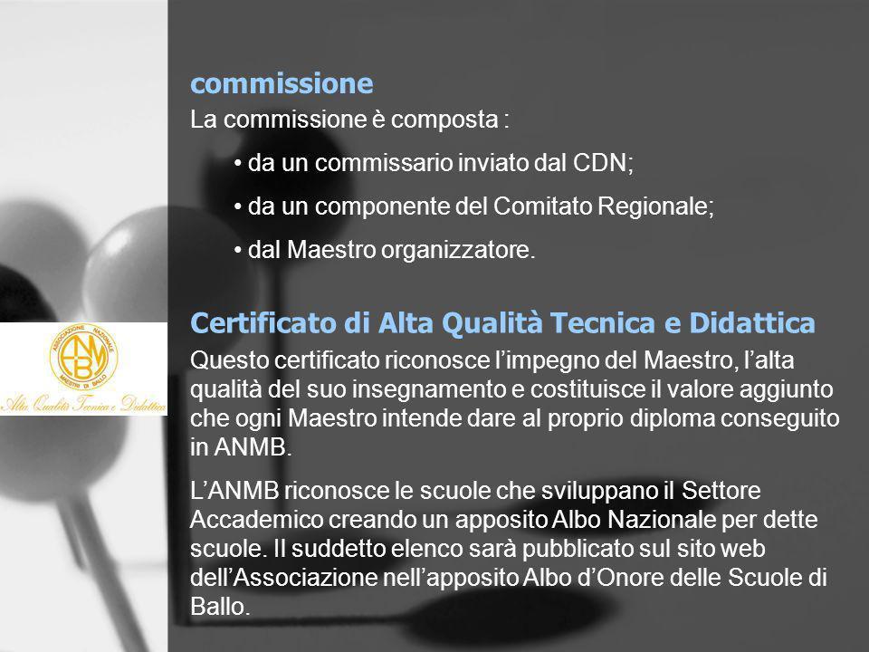 Certificato di Alta Qualità Tecnica e Didattica