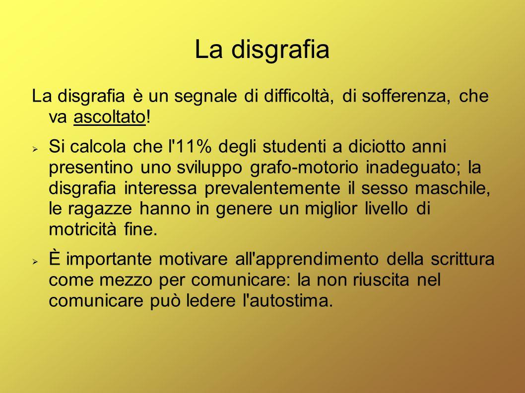 La disgrafia La disgrafia è un segnale di difficoltà, di sofferenza, che va ascoltato!