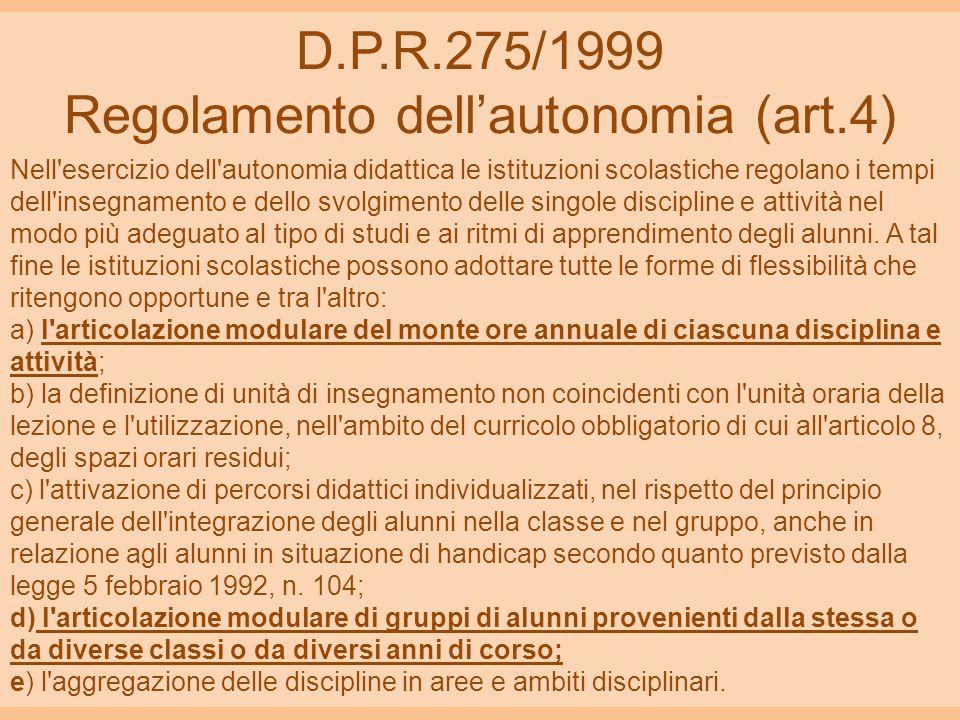 D.P.R.275/1999 Regolamento dell'autonomia (art.4)