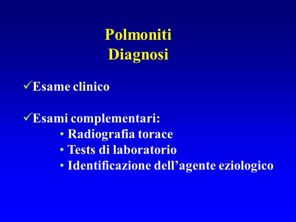 Polmoniti Diagnosi Esame clinico Esami complementari: