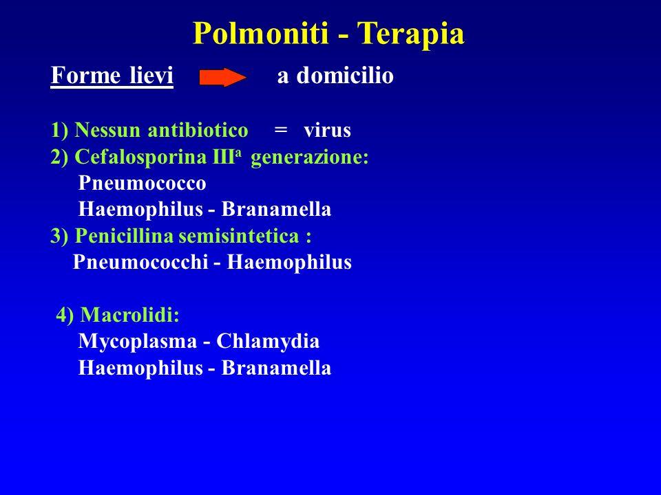 Polmoniti - Terapia Forme lievi a domicilio