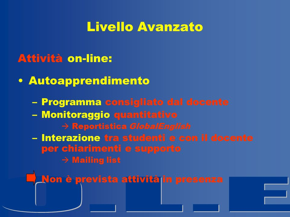 Livello Avanzato Attività on-line: Autoapprendimento