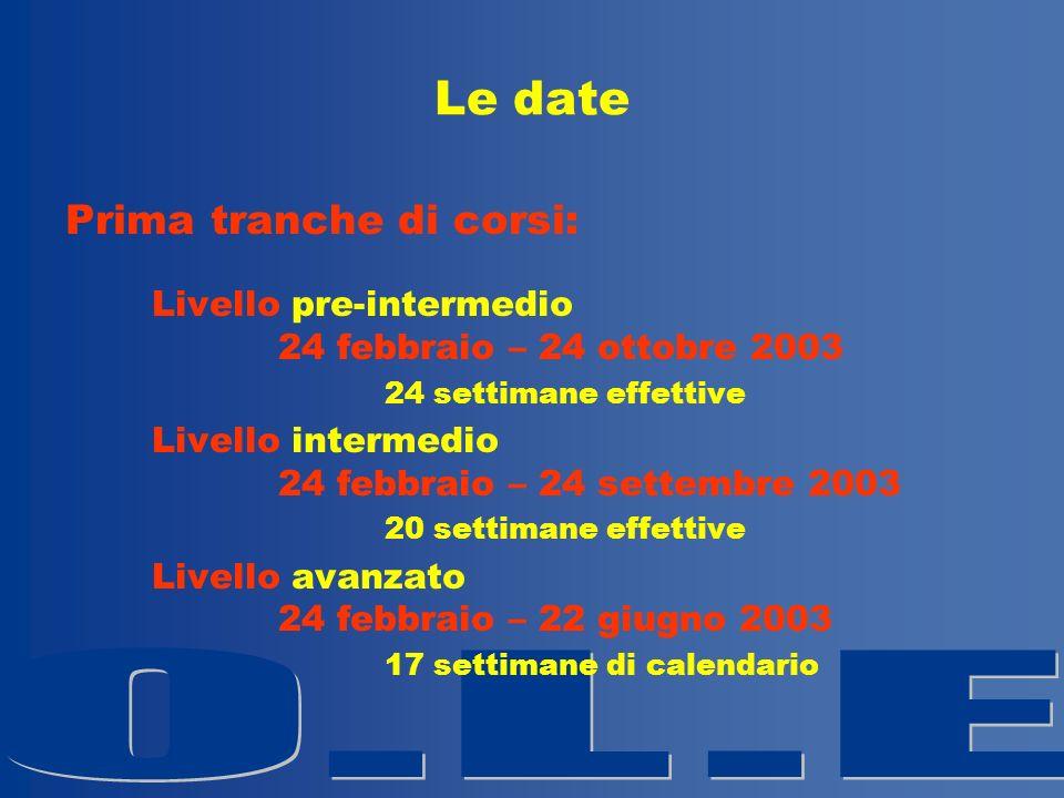 Le date Prima tranche di corsi: