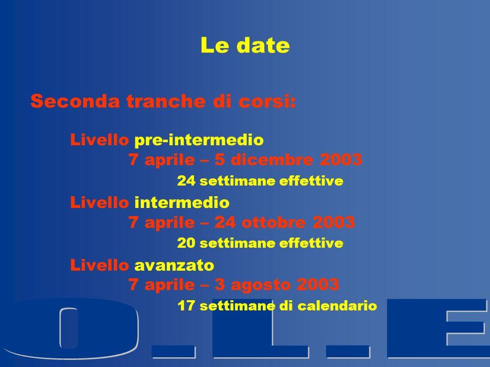 Le date Seconda tranche di corsi: