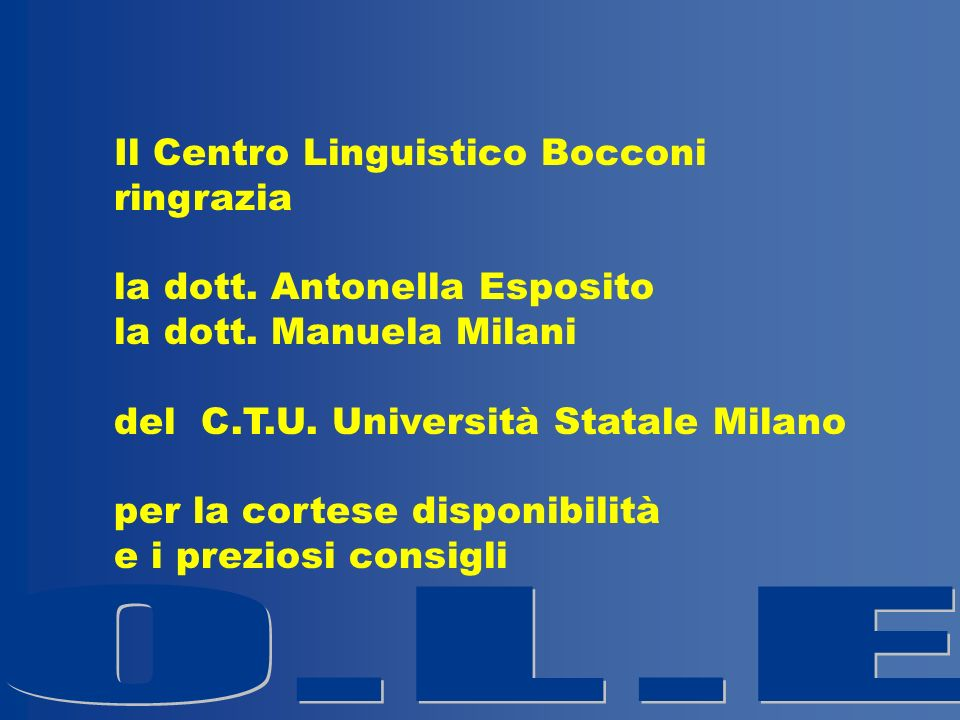 Il Centro Linguistico Bocconi ringrazia