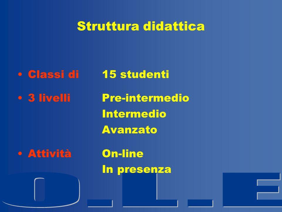 Struttura didattica Classi di 15 studenti 3 livelli Pre-intermedio