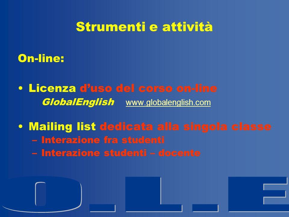 Strumenti e attività On-line: Licenza d'uso del corso on-line