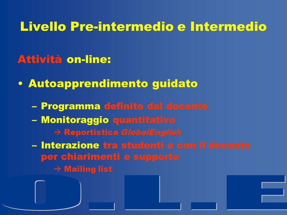 Livello Pre-intermedio e Intermedio