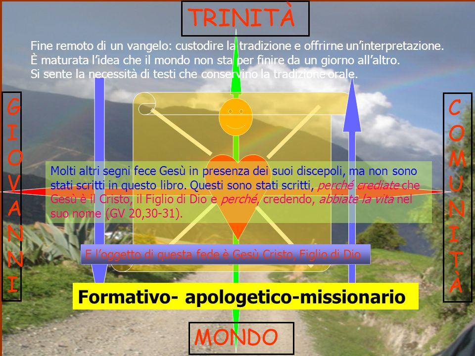 TRINITÀ GIOVANNI COMUNITÀ MONDO Formativo- apologetico-missionario